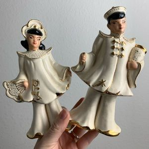 Vintage Gold Plated Asian Figurines Boy & Girl
